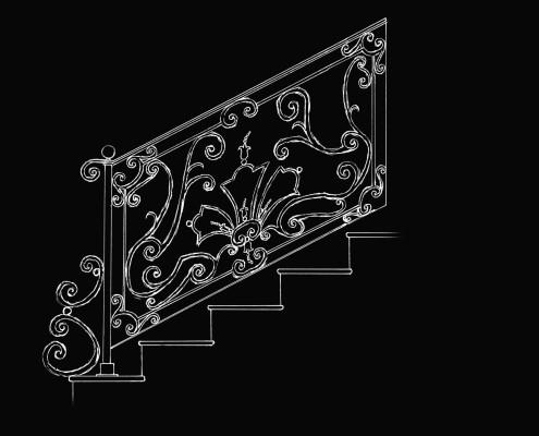 Ringhiera in Ferro Battuto in stile LUIGI XIV